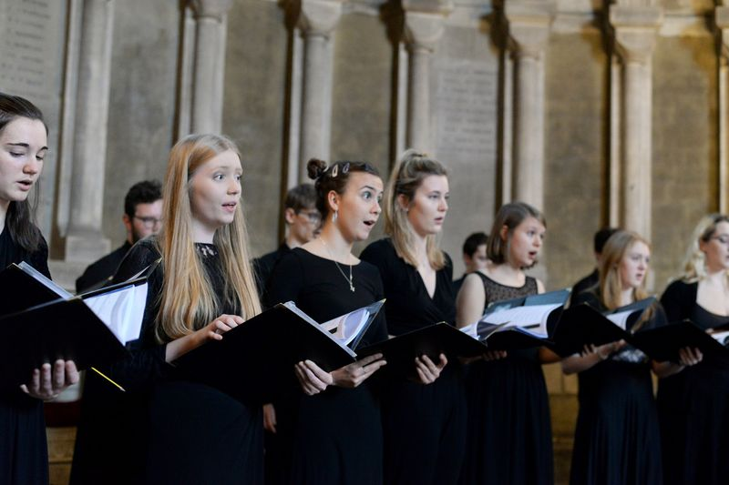 Students performing in the Chamber Choir at Durham Cathedral