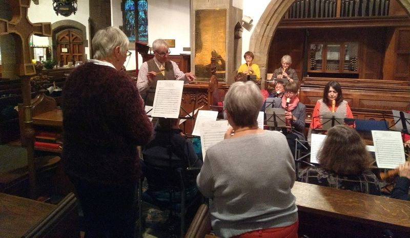 People playing recorders at a Philip Thorby Gabrieli workshop, St Margarets Church, Crossgate