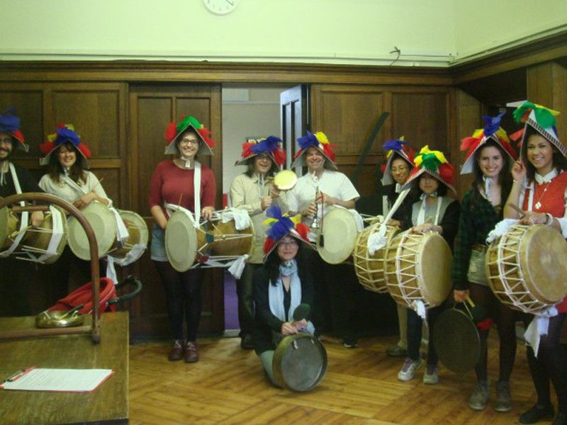 P'ungmul Society posing with drums