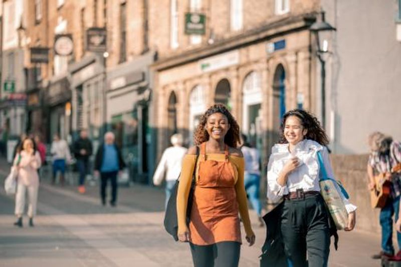 Students from the International Study Centre walking through Durham