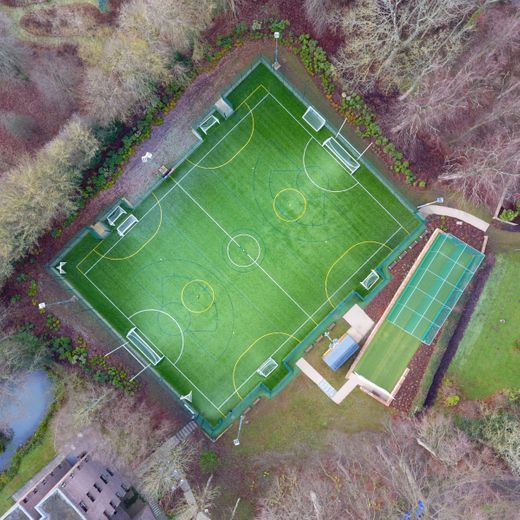 Aerial view of outdoor sports pitch