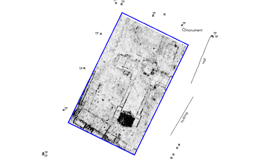 a greyscale map of gpr data showing buried archaeological features, including a former church and buildings along a street front