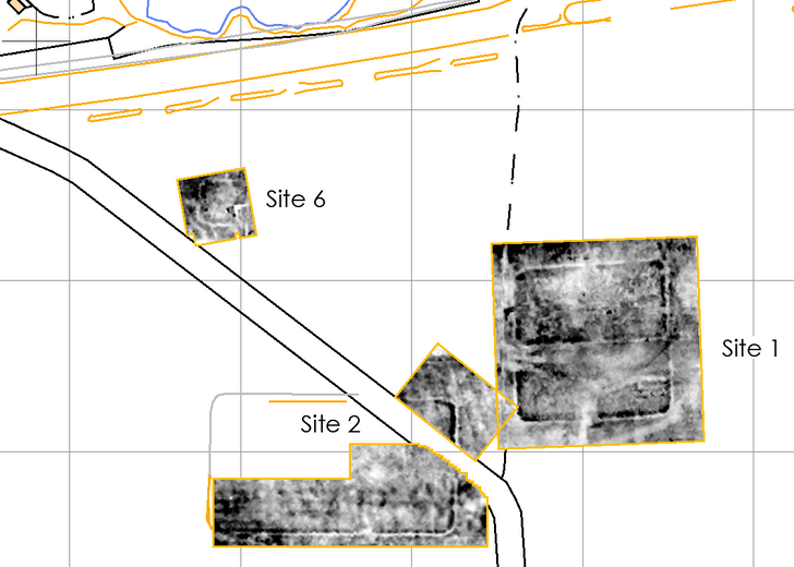 a greyscale map of earth-electrical resistance data from the site of Roman marching camps on Hadrians Wall showing buried archaeological features