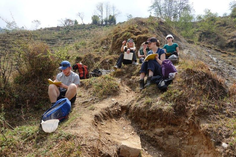 Students working on a landslide in the Chaku Khola, Nepal, March 2019