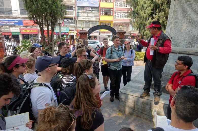 Students on the NSET earthquake safety walk, Kathmandu, Nepal, March 2019