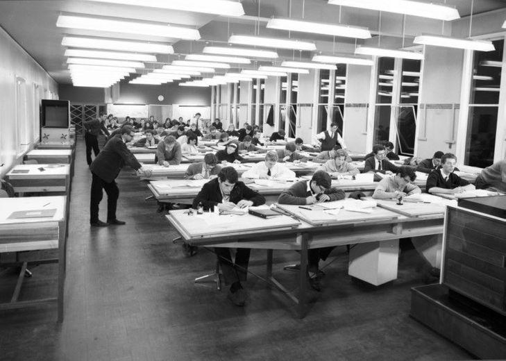 The post-1965 cartography lab. Ken Atkinson supervises.