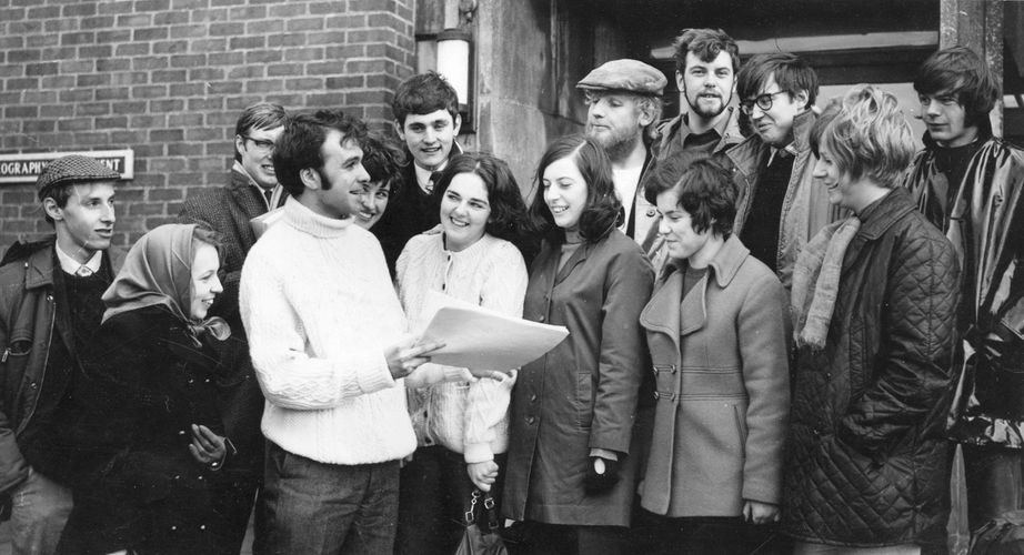 Michael Drury giving instructions in 1970 to students leaving for a field trip in Greece. Image from Linda Drury