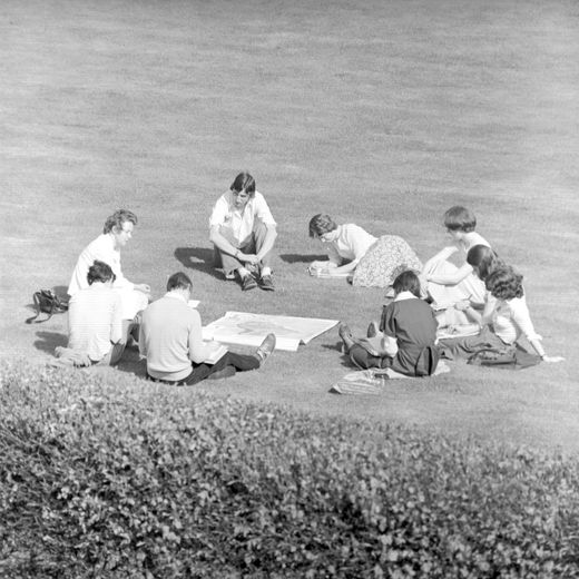Geography Students relaxing date unknown