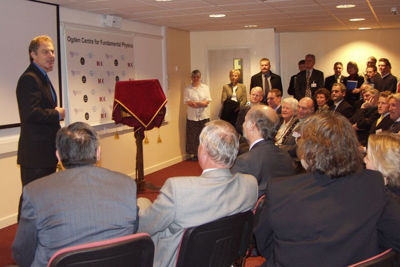 Tony Blair addresses a room full of academics and other dignataries at the opening of the Ogden East building
