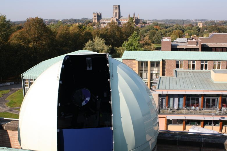 Telescope with view of Durham Cathedral beyond