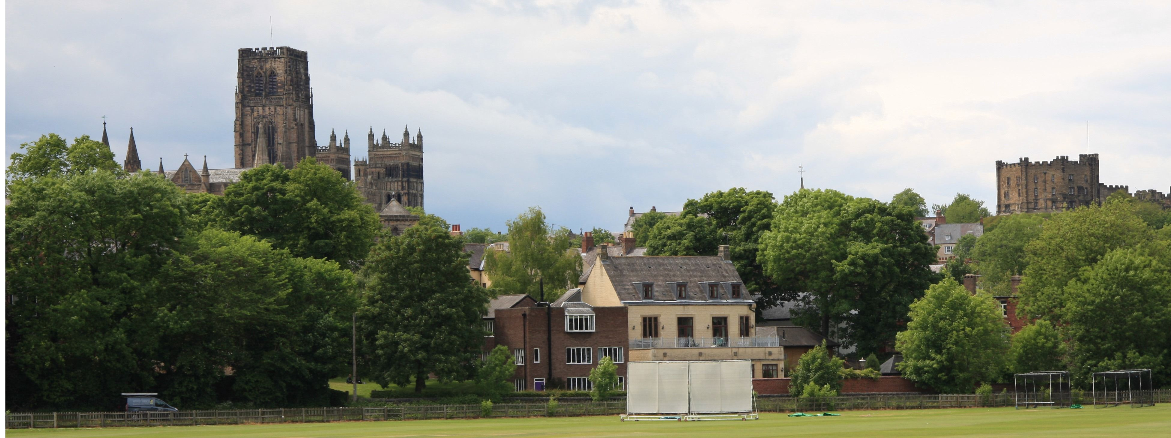 Cricket field with views of Durham Cathedral and castle behind