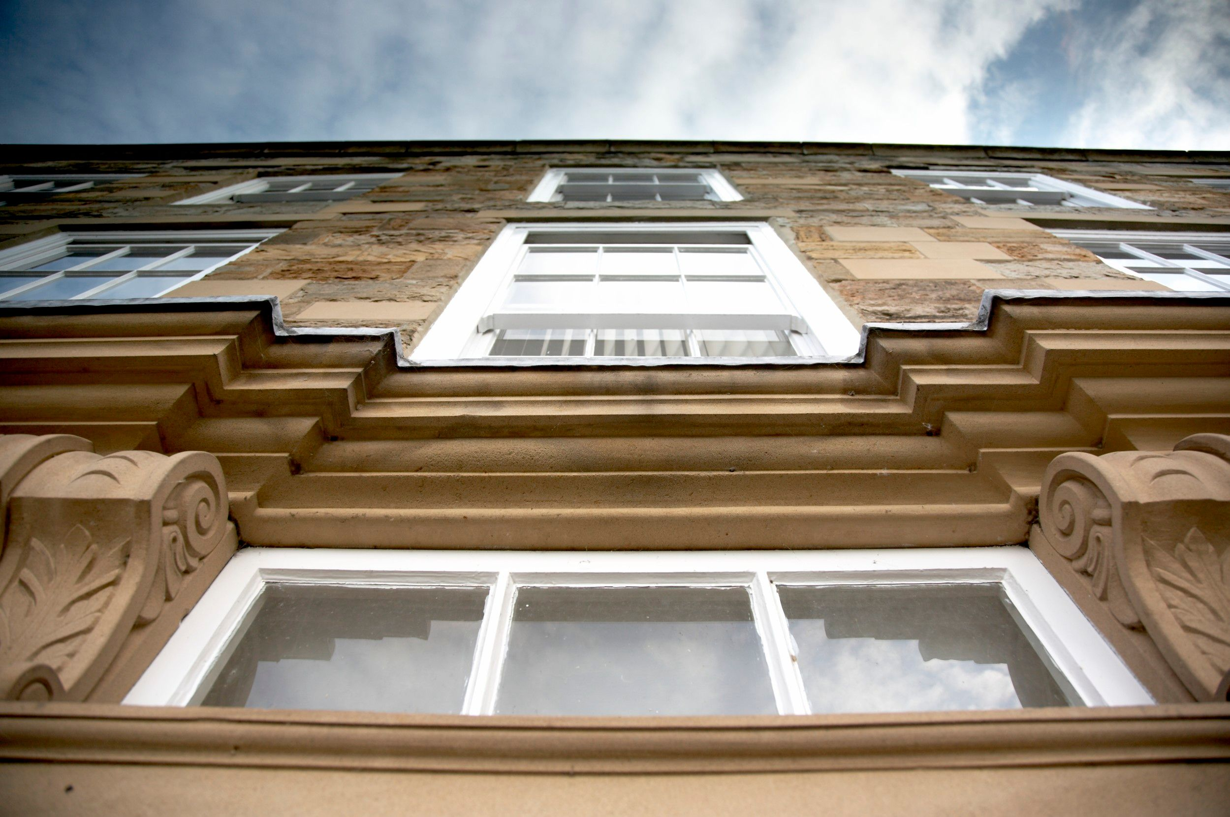 Looking up at Abbey House in Durham