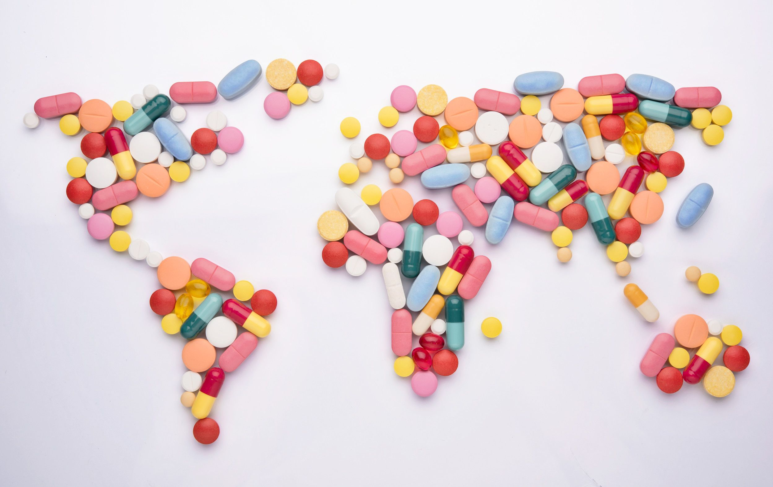 A map of the world made out of coloured pills